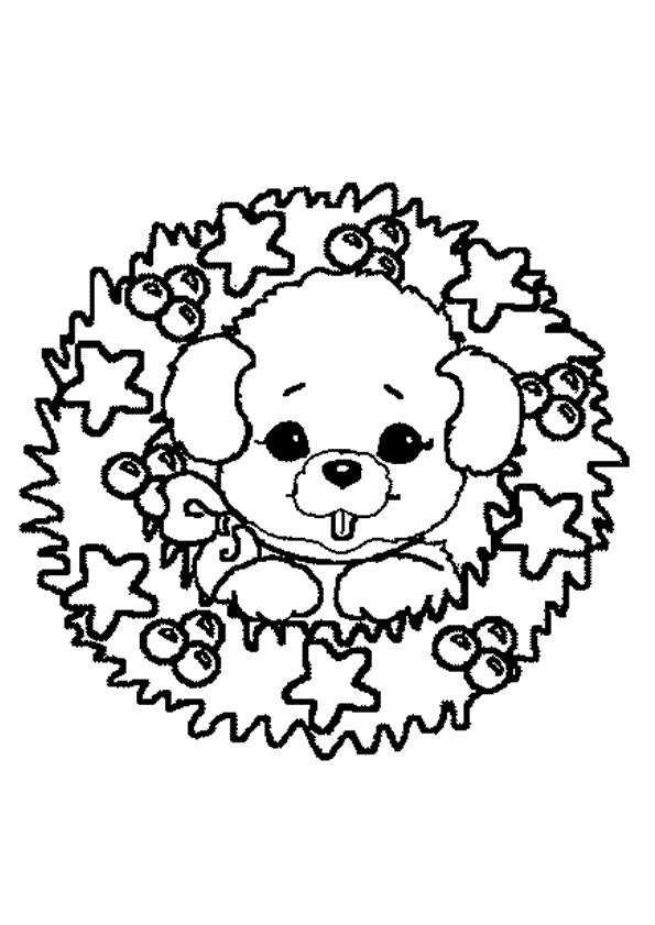 Coloriage Couronne de Noel avec ourson dessin gratuit à imprimer