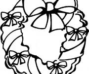 Coloriage et dessins gratuit Couronne de Noel décoré à imprimer