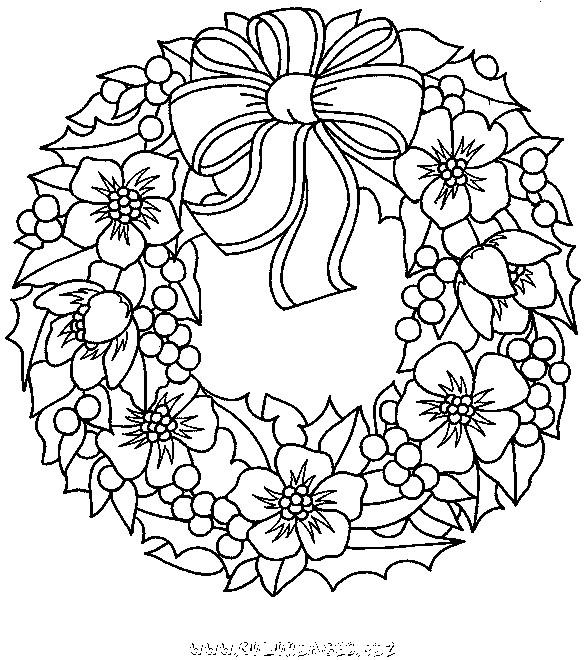 Coloriage couronne de noel d cor avec fruits et fleurs - Dessin guirlande de noel ...