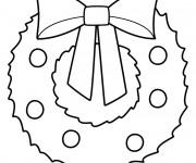Coloriage Couronne de Noel décoré avec Noeud