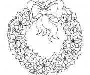Coloriage et dessins gratuit Couronne de Noel en Hiver à imprimer