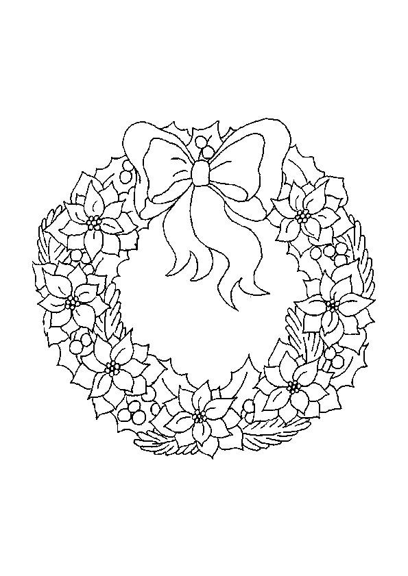 Coloriage et dessins gratuits Couronne de Noel en Hiver à imprimer