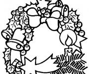 Coloriage et dessins gratuit Couronne de Noel en noir à imprimer