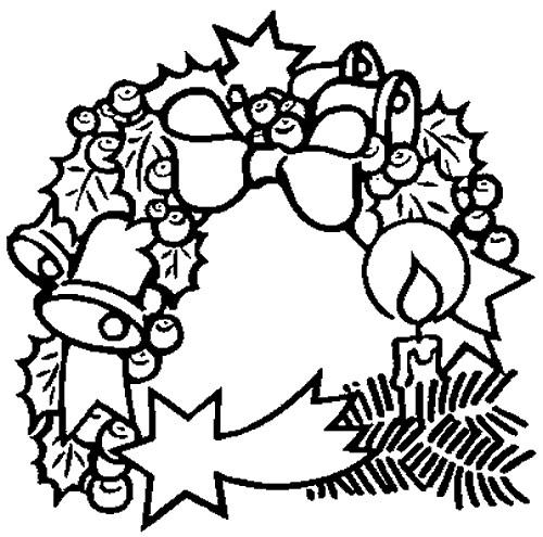 Coloriage Couronne De Noel En Noir Dessin Gratuit à Imprimer