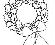 Coloriage et dessins gratuit Couronne de Noel en noir et blanc à imprimer