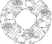 Coloriage Couronne de Noel enjolivé avec des fruits