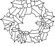 Coloriage Couronne de Noel feuilles et fruits