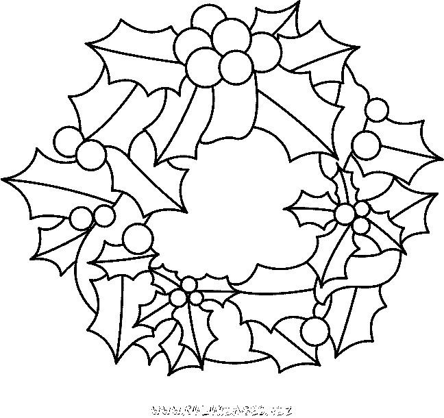 coloriage couronne de noel feuilles et fruits dessin. Black Bedroom Furniture Sets. Home Design Ideas