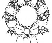 Coloriage et dessins gratuit Couronne de Noel maternelle à imprimer