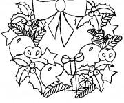 Coloriage et dessins gratuit Couronne de Noel pour enfant à imprimer