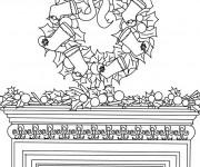 Coloriage Couronne de Noel sur cheminée