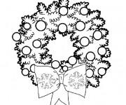 Coloriage Couronne et Boules de Noel