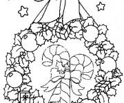 Coloriage Couronne et Canne en bonbon de Noel