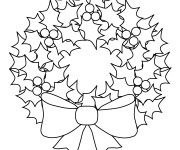Coloriage Décoration de Couronne de Noel