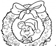 Coloriage Souris au milieu de Couronne de Noel