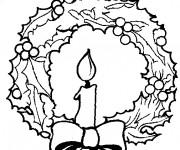Coloriage et dessins gratuit Une Bougie au centre de Couronne de Noel à imprimer