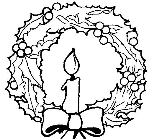 Coloriage et dessins gratuits Une Bougie au centre de Couronne de Noel à imprimer