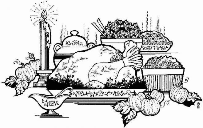 Coloriage et dessins gratuits Buffet de Noël avec Dinde à imprimer