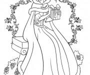 Coloriage Belle Princesse de Disney Noel