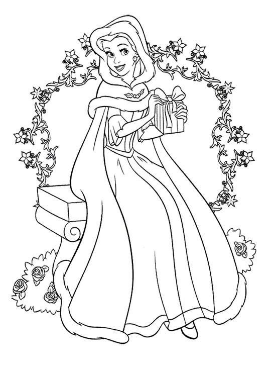 Coloriage belle princesse de disney noel dessin gratuit imprimer - Dessin de noel disney ...