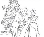 Coloriage Cendrillon et Le Sapin de Noel