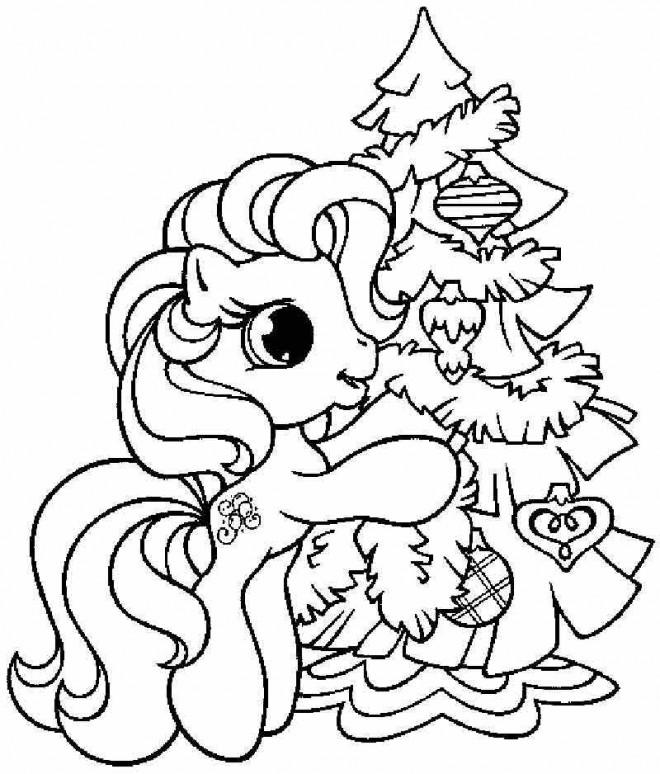 Coloriage et dessins gratuits Cheval Magique en Noel à imprimer