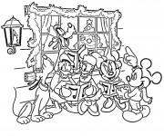Coloriage et dessins gratuit Les Personnages de Disney célèbrent le Noel à imprimer
