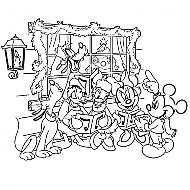 Coloriage et dessins gratuits Les Personnages de Disney célèbrent le Noel à imprimer