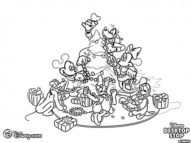 Coloriage Les Personnages De Disney Préparent Le Sapin Noel