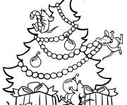 Coloriage Les souris sur Le Sapin de Noel  vecteur