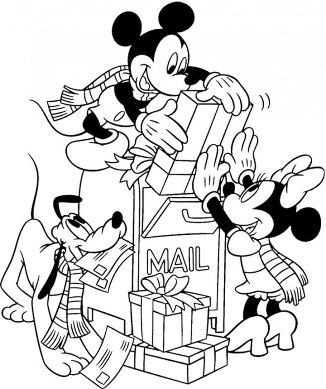 Coloriage et dessins gratuits Mickey et Minnie et Les Cadeaux de Noel à imprimer