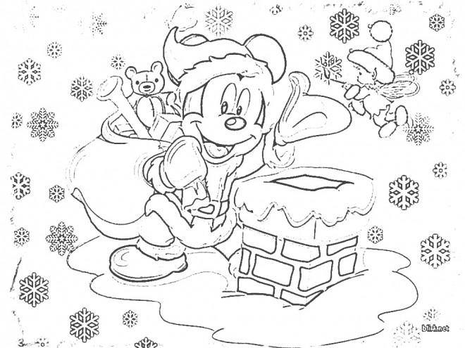 Coloriage et dessins gratuits Mickey Mouse apporte Les Cadeaux de Noel à imprimer