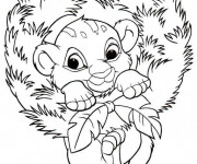 Coloriage dessin  Simba entouré des feuilles
