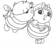 Coloriage et dessins gratuit Abeilles amoureux à imprimer