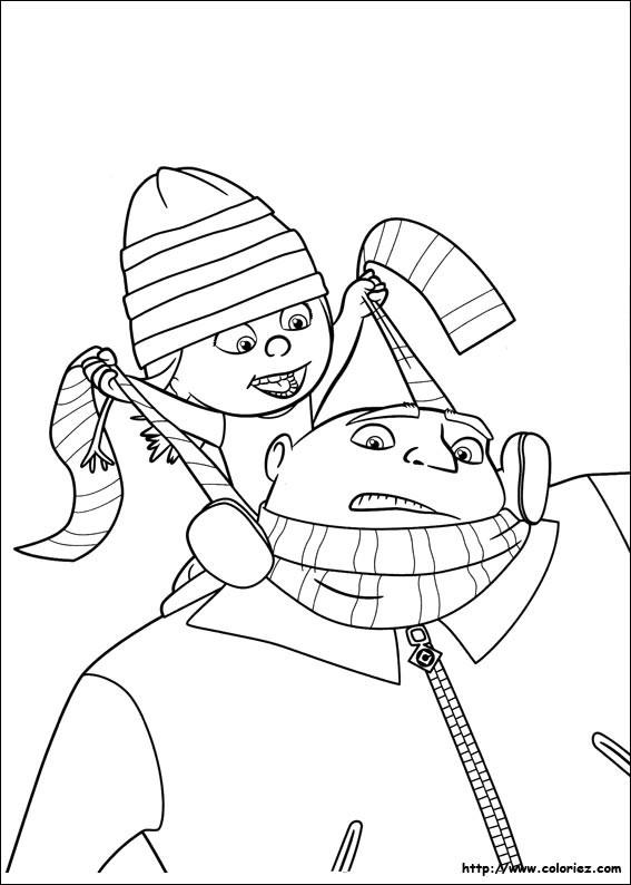 Coloriage et dessins gratuits Bébé sur les épaules de son père à imprimer