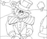 Coloriage Clown amusant en plein air