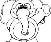 Coloriage Éléphant drôle te salue