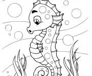Coloriage Hippocampe drôle fond marin