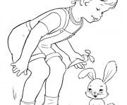 Coloriage La Fille et Le Lapin souriant