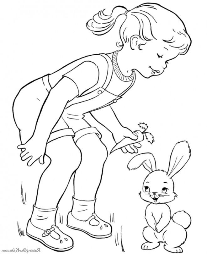 Coloriage et dessins gratuits La Fille et Le Lapin souriant à imprimer