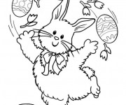 Coloriage Lapin joue avec  Oeuf
