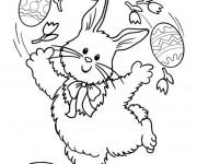 Coloriage et dessins gratuit Lapin joue avec  Oeuf à imprimer