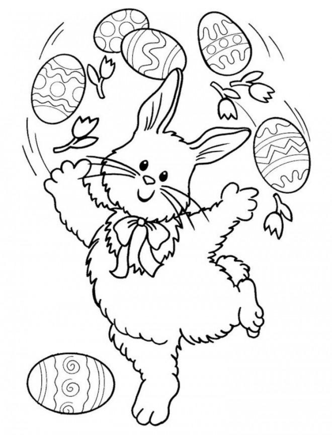 Coloriage et dessins gratuits Lapin joue avec  Oeuf à imprimer