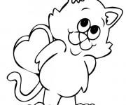 Coloriage Le Chat mignon heureux