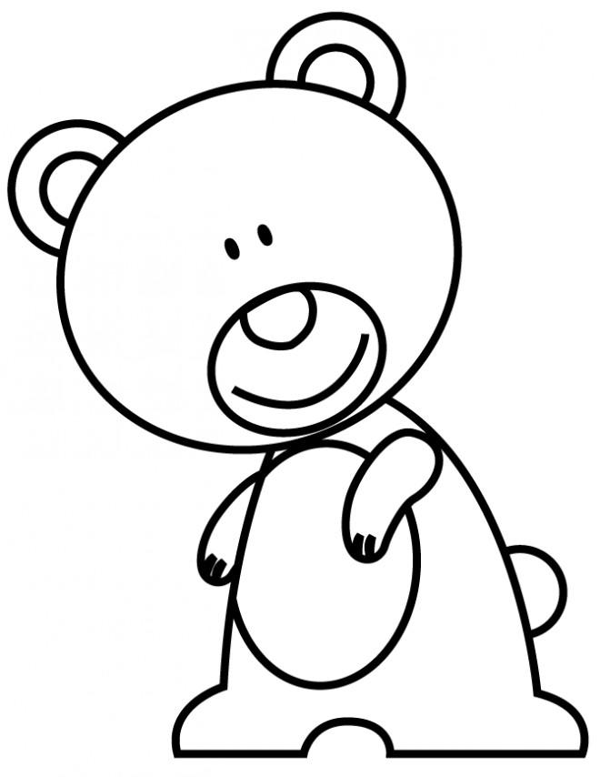 Coloriage et dessins gratuits Ourson mignon avec le sourire sur le visage à imprimer