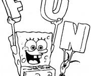 Coloriage Spongebob amusé