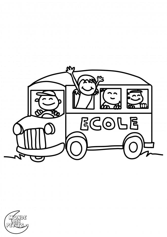 Coloriage et dessins gratuits Bus d'École sur route à imprimer