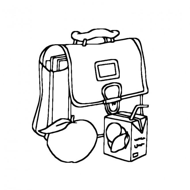 Coloriage et dessins gratuits Cartable et Goûter pour École à imprimer