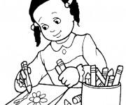 Coloriage et dessins gratuit Élève dessine Une Fleur à imprimer