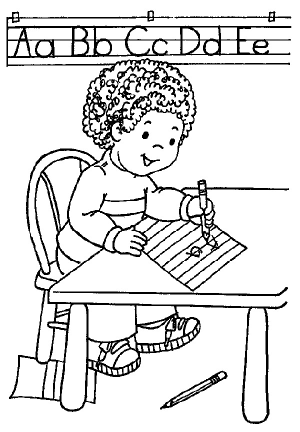 Coloriage et dessins gratuits élève et L'Alphabet Maternelle à imprimer